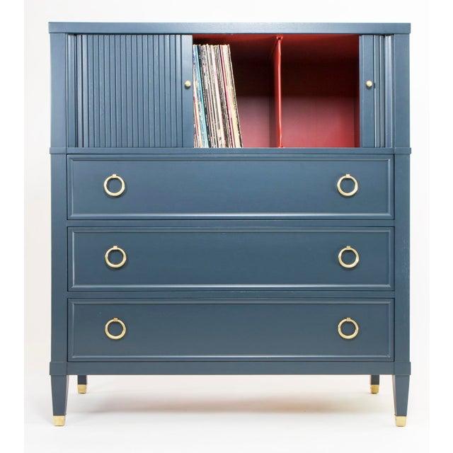 Baker Teal & Red Milling Road Tambour Dresser - Image 4 of 8
