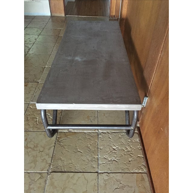 Industrial Modern Concrete and Metal Coffee Table - Image 3 of 5