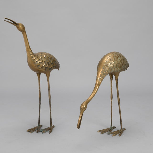 Pair Mid Century Tall Brass Crane Statues For Sale In Detroit - Image 6 of 10