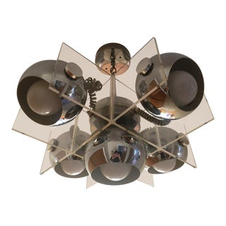 1970s Mid Century Modern Lucite & Chrome Cube Chandelier