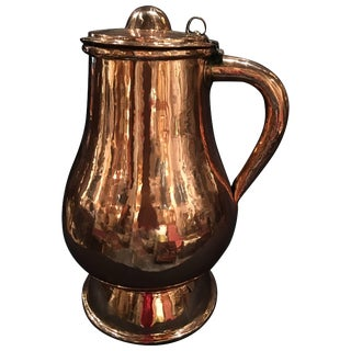 French Polished Copper Jug or Pitcher With Lid and Handle, 19th Century For Sale