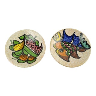 Vintage Italian Mosaic Style Pottery Plates - a Pair For Sale