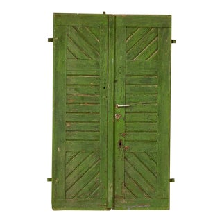 Antique Original Green Painted Doors Great Sliding Doors - a Pair For Sale