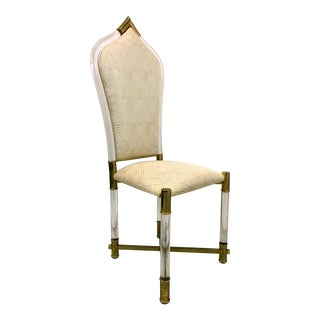 Modern Lucite & Brass Chair