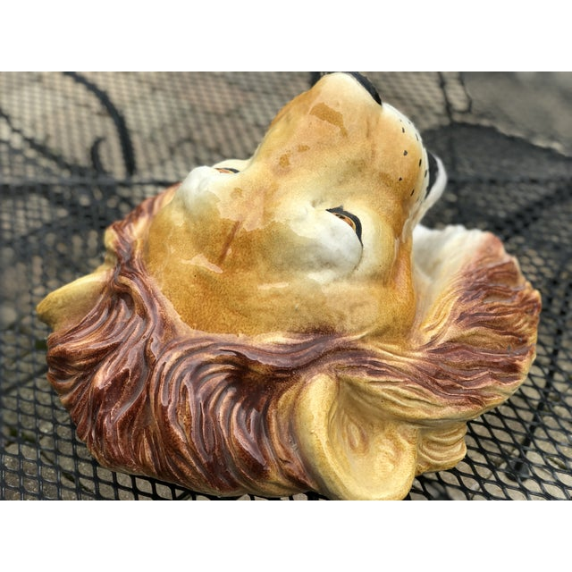 Italian Mid-Century Ceramic Lion Head Wall Sculpture For Sale In Chicago - Image 6 of 11