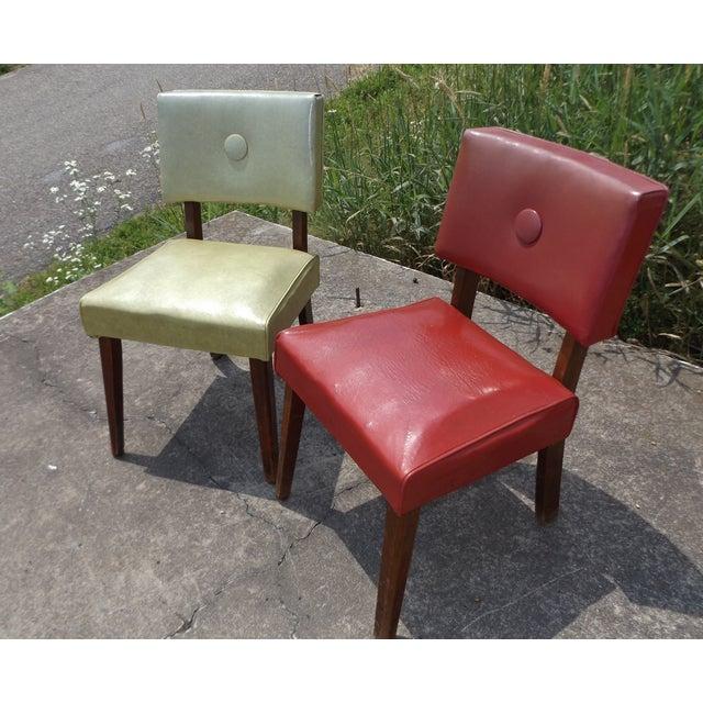 Retro Mid-Century Vinyl Accent Chairs - A Pair - Image 3 of 11