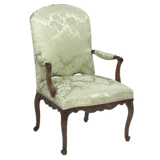 Single 19Th C. French Hand Carved and Upholstered Arm Chair For Sale