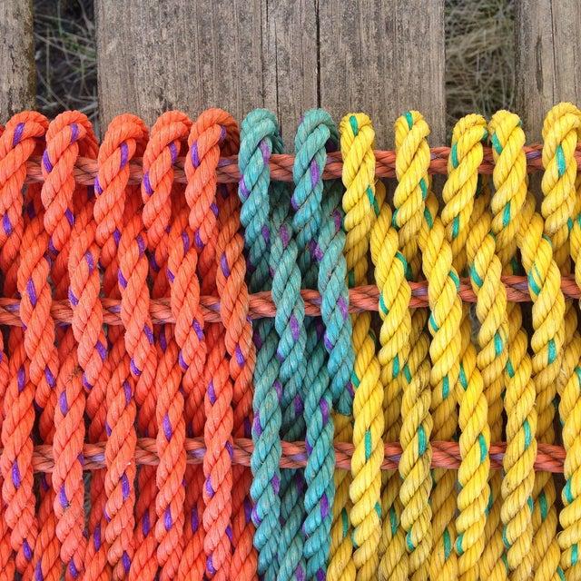 """Recycled Lobster Rope Doormat: """"Peaks"""" - Image 3 of 4"""