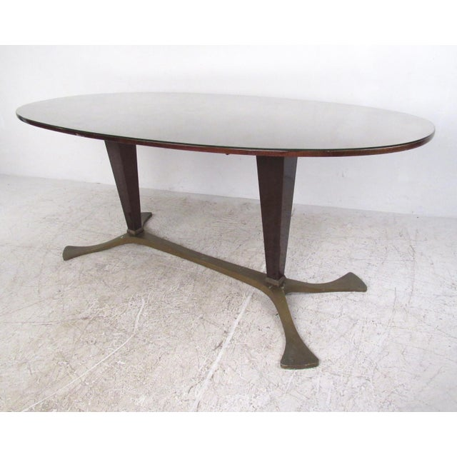 Italian Glass Top Dining Table For Sale - Image 4 of 10