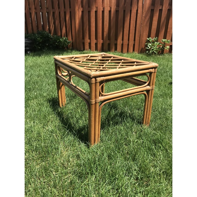 Brown Vintage Bamboo Rattan Side Table For Sale - Image 8 of 8