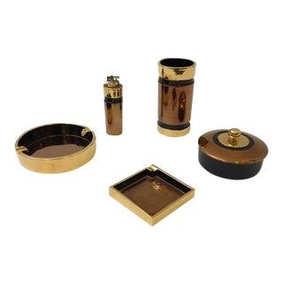 Gold and Copper Glazed Italian Ceramic Smoking Set by Bitossi
