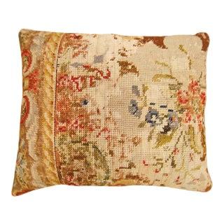 Vintage Art Deco Decorative English Needlepoint Pillow For Sale