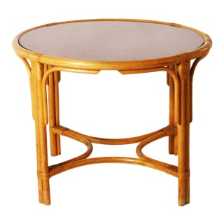 French Cane & Bamboo Round Gueridon Table C. 1950 For Sale