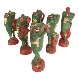 Mid 20th Century Hand Carved Frog Figurines - Set of 6 For Sale