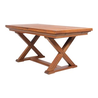 Mid 20th-C. Country Farmhouse X Trestle Dining Table With Inlay For Sale