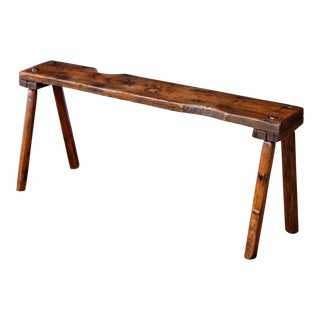 19th Century Primitive Oak Bench For Sale