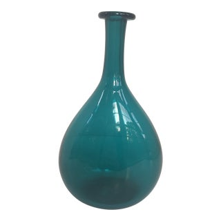 Handblown Glass Turquoise Bottle For Sale