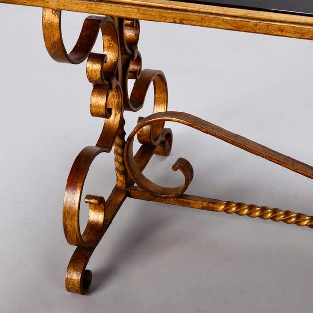 Gold Italian Gilt Iron & Black Glass Cocktail or Coffee Table For Sale - Image 8 of 8