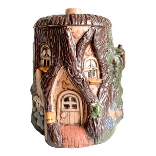 1960s Vintage Painted Ceramic Tree House Cookie Jar For Sale