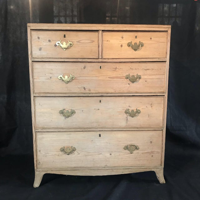 Antique British Scrubbed Pine Chest of Drawers For Sale - Image 9 of 9
