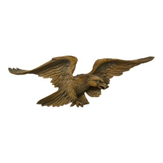 Antique Hand Carved Wood Eagle For Sale