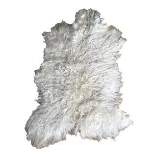 Modern Angora Goatskin Throw - 2′7″ × 3′11″ For Sale
