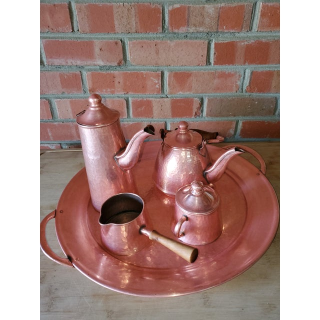 Mid-century Rustic Mexican hammered copper coffee/ tea/ hot chocolate set with tray. c 1950s 7 pieces. Coffee pot lid is...