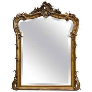 19th Century French Rococo Mirror With Beveled Glass For Sale