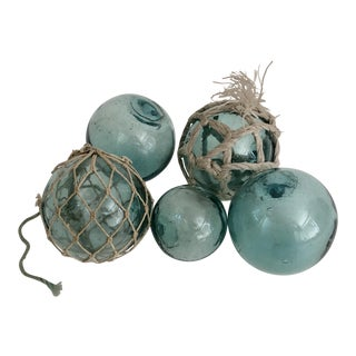 Japanese Aqua Glass Fishing Floats- Set of 5