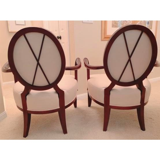 Classic Barbara Barry Oval X back chairs. Exposed wood frame with flaring arms and tapered legs. Beautiful neutral...