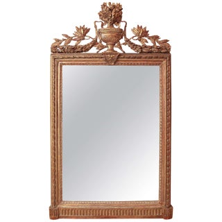 Louis XVI Console Mirror With Urn and Foliate Swagged Crest For Sale