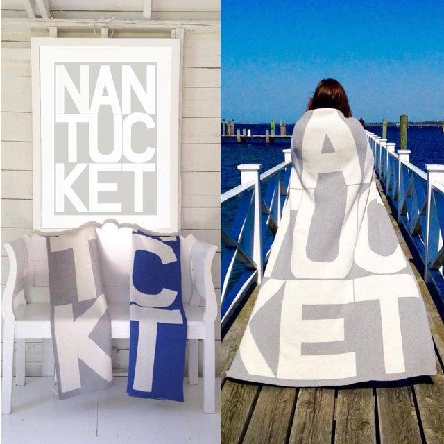 Contemporary Liz Roache Nantucket Throw, Blue For Sale - Image 3 of 8