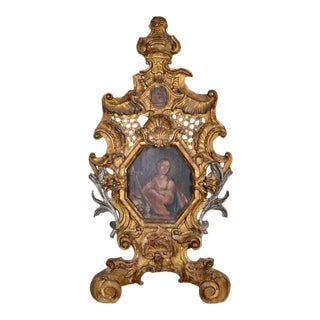Antique Italian Carved Frame With Original Painting of Saint Catherine From Siena For Sale