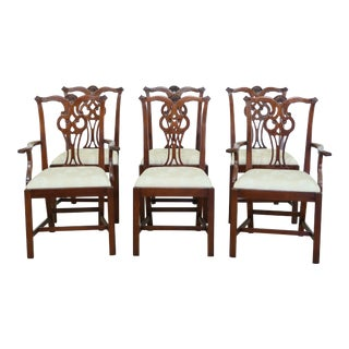 Hickory Chair Co Chippendale Mahogany Dining Room Chairs - Set of 6 For Sale