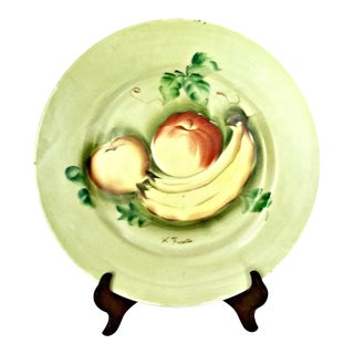 Vintage Japan Hand Painted Porcelain Wall Plate W/Fruit For Sale