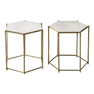 Italian Faux Bamboo & Mirror Side Tables - a Pair For Sale