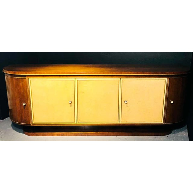 French Art Deco Sideboard or Credenza With Parchment Front, Monumental For Sale - Image 10 of 13