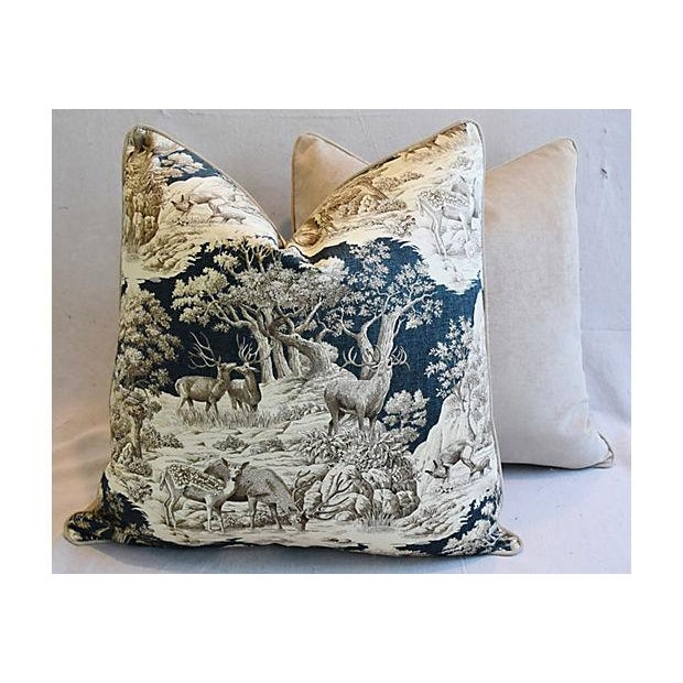 """25"""" Custom Tailored Woodland Toile Deer & Velvet Feather/Down Pillows - Pair For Sale - Image 10 of 11"""
