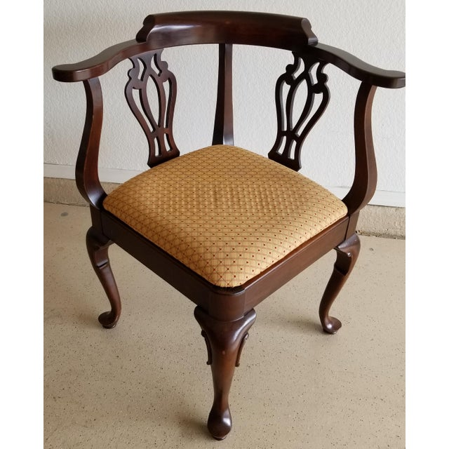 Vintage Ethan Allen Georgian Cherry Corner Chair For Sale - Image 11 of 11