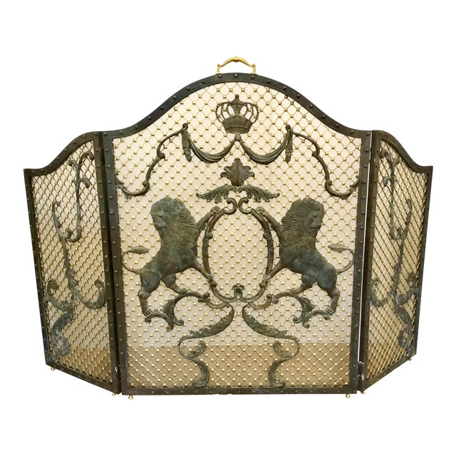 Maitland-Smith Traditional Large Iron Fire Screen For Sale