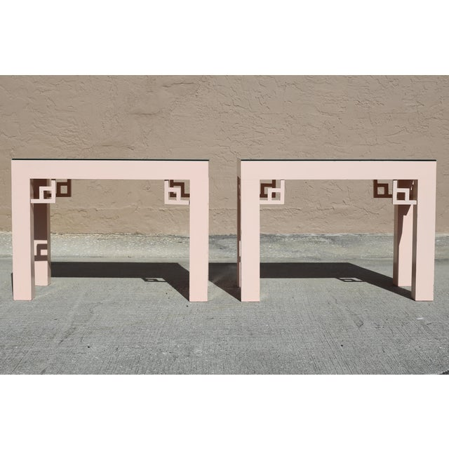 Vintage Blush Laminate Side Tables With Corner Accents and Glass Tops - a Pair For Sale - Image 10 of 13