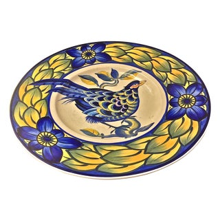 Royal Copenhagen Hand Painted Blue & Green Charger For Sale