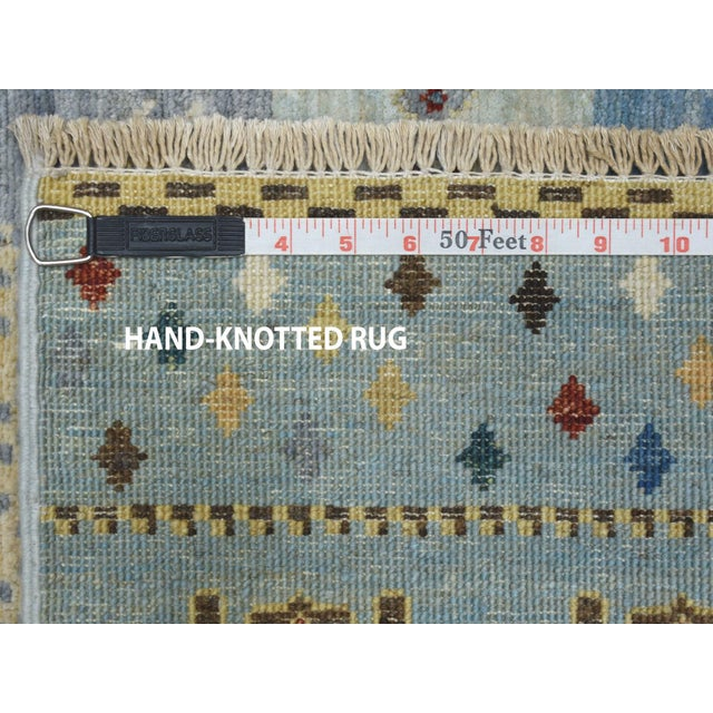 Denim Blue Kashkuli Gabbeh Pictorial Wool Hand-Knotted Runner For Sale In New York - Image 6 of 7