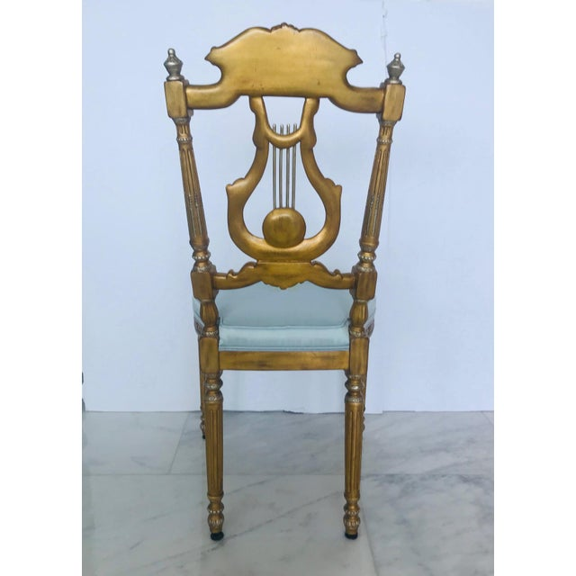 Elegant Belle Epoque Lyre Chair in Antique Gold Leaf, Italy For Sale - Image 11 of 13