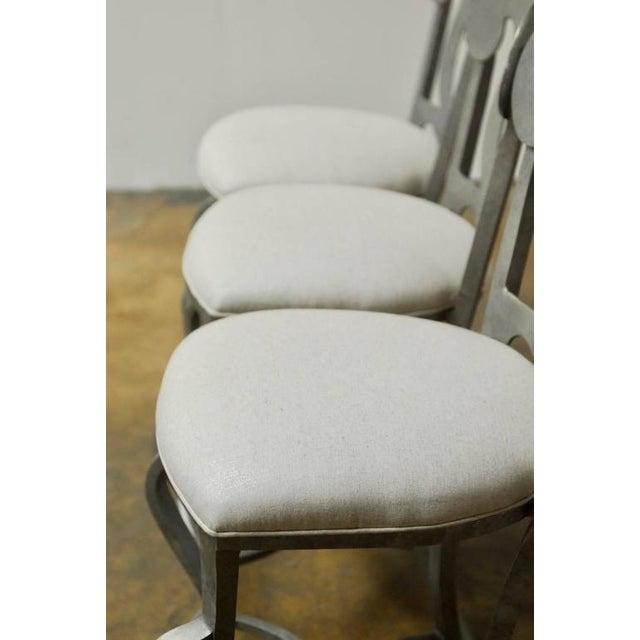 Modern Biedermeier Style Metal Barstools - Set of 3 - Image 4 of 10