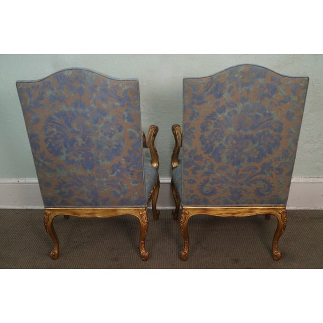 French Louis XV Style Carved Gilt Arm Chairs - A Pair - Image 4 of 10