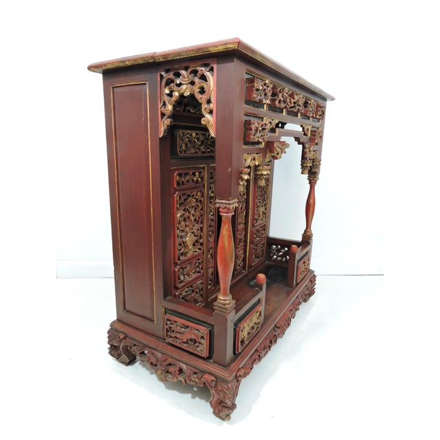 Asian 20th Century Ornate Asian Red & Gold Carved Console Table, Thai 'Spirit House' For Sale - Image 3 of 10