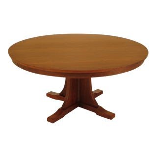 Stickley Arts & Crafts Round Solid Cherry Dining Table For Sale