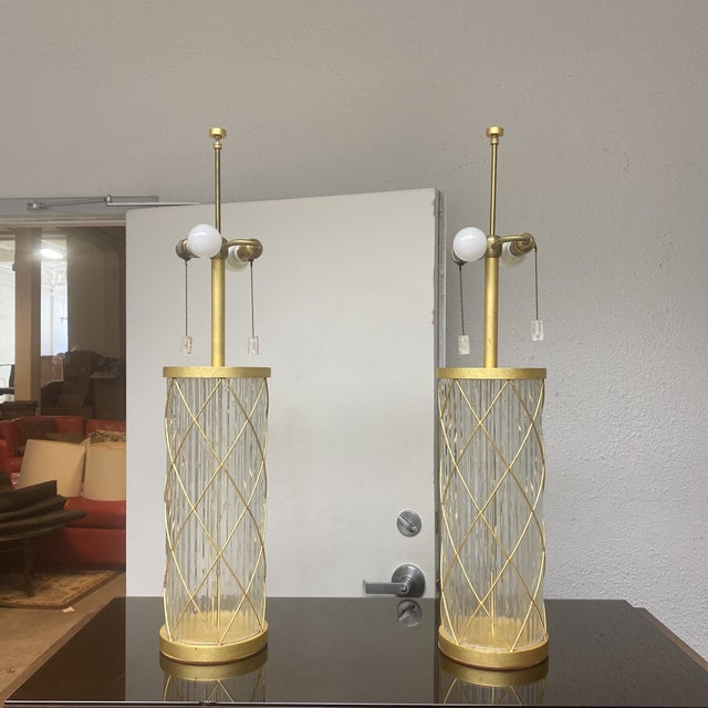 Design Plus Gallery presents a pair of Fisher Weisman Montgolfier Grand Table Lamps. From The Kentfield Collection....