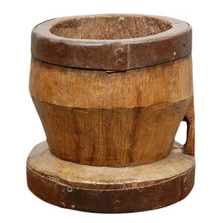 Large Antique Wood Mortar For Sale